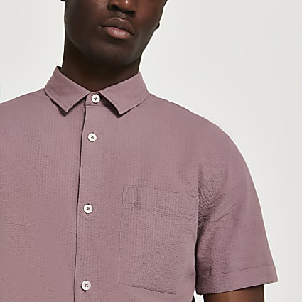 Pink textured short sleeve shirt
