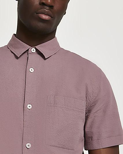 Pink textured short sleeve shirt