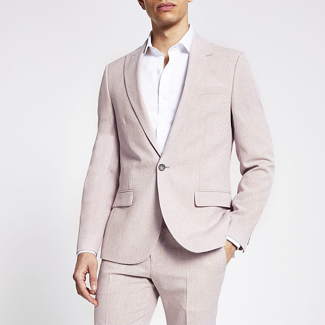 Pink textured skinny suit jacket