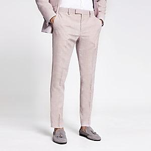 Roze skinny pantalon met textuur