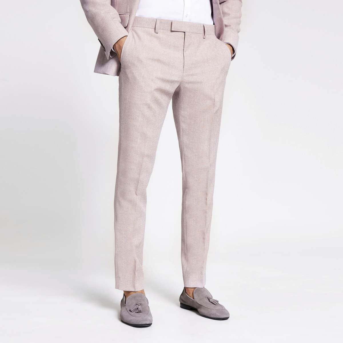 Pink textured skinny suit trousers