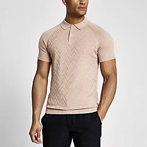 Strukturiertes Slim Fit Poloshirt aus Strick in Rosa