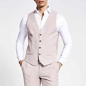 Pink textured slim fit suit waistcoat