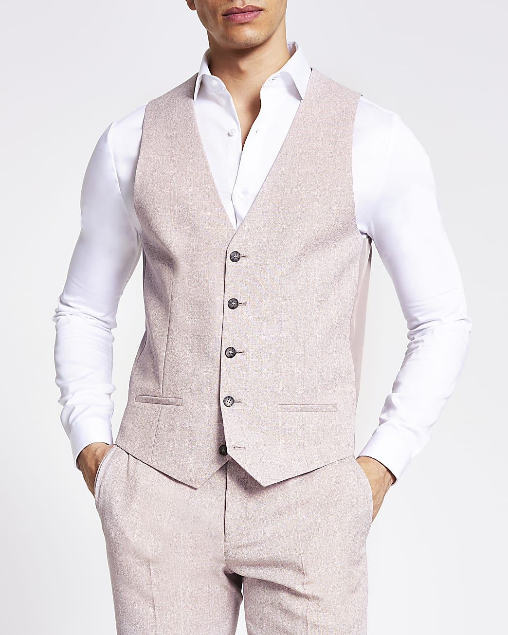 Pink textured slim fit suit waistcoat