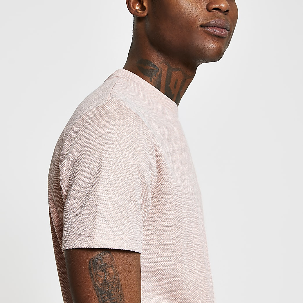 Pink textured slim fit T-shirt