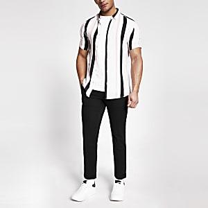 Slim Fit Hemd mit Struktur und Streifenmuster in Rosa
