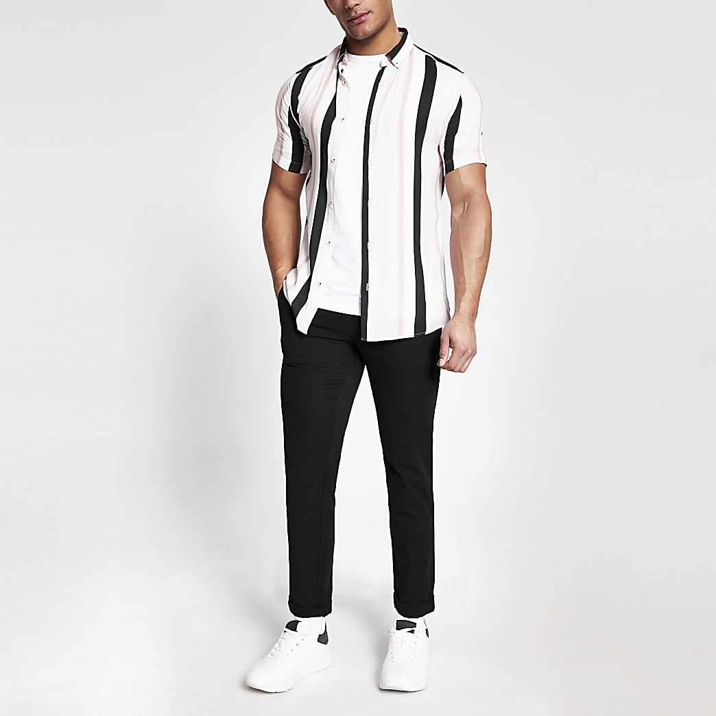 Pink textured stripe slim fit shirt