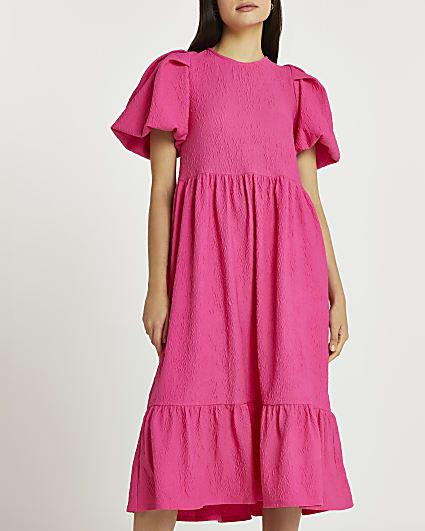 Pink textured tie back midi dress
