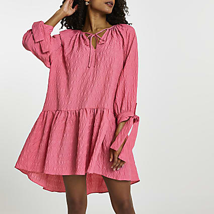Pink textured tie neck smock dress