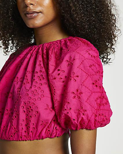 Pink tie back puff sleeve crop top