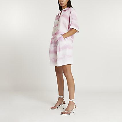 Pink tie dye Bermuda shorts