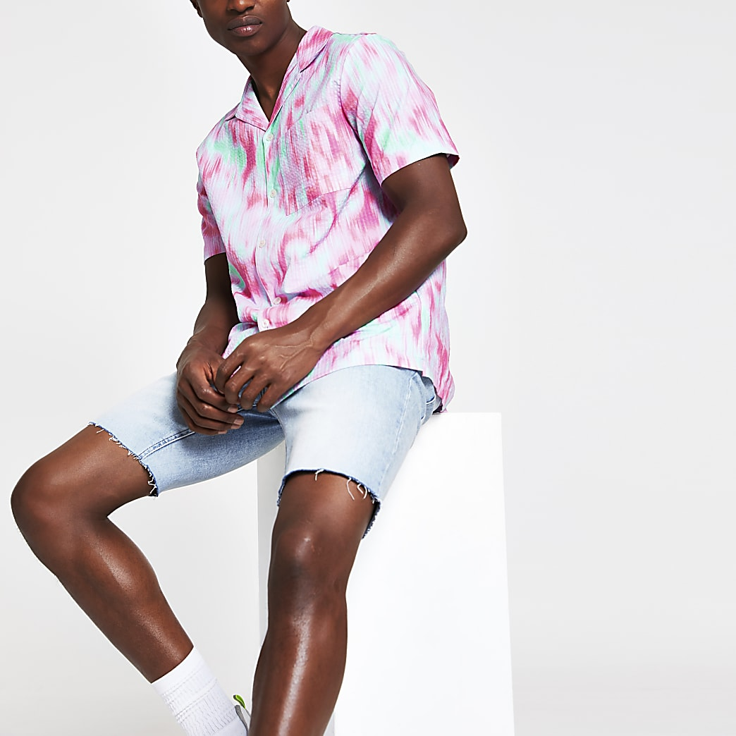 Pink tie dye chest pocket short sleeve shirt