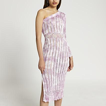 Pink tie dye crochet ribbed midi dress