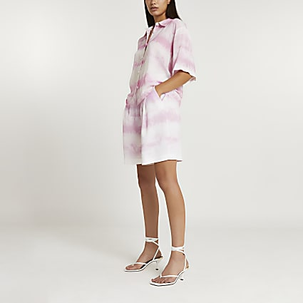Pink tie dye elasticated waist Bermuda shorts