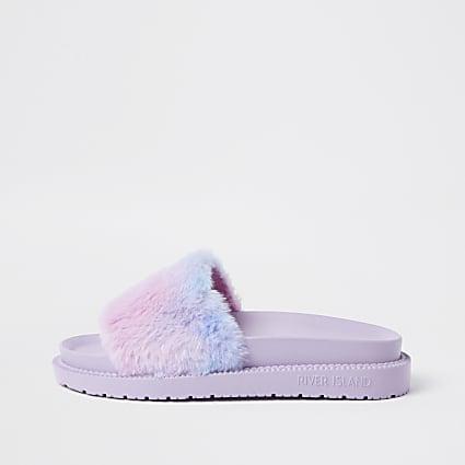 Pink tie dye faux fur slider