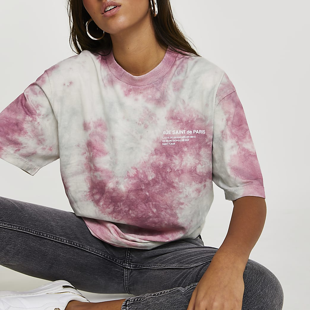 Pink tie dye oversized t-shirt