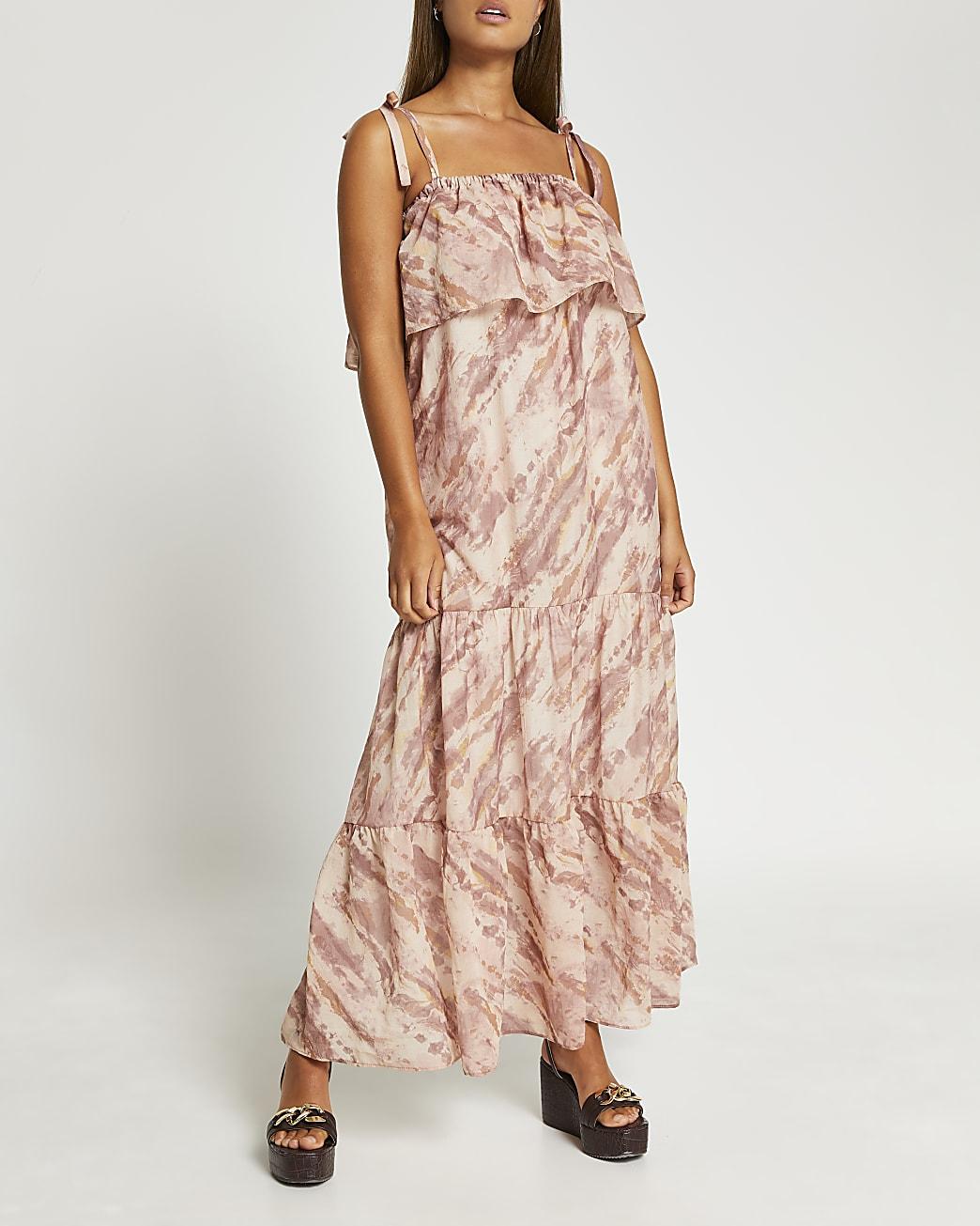 Pink tie dye print maxi dress