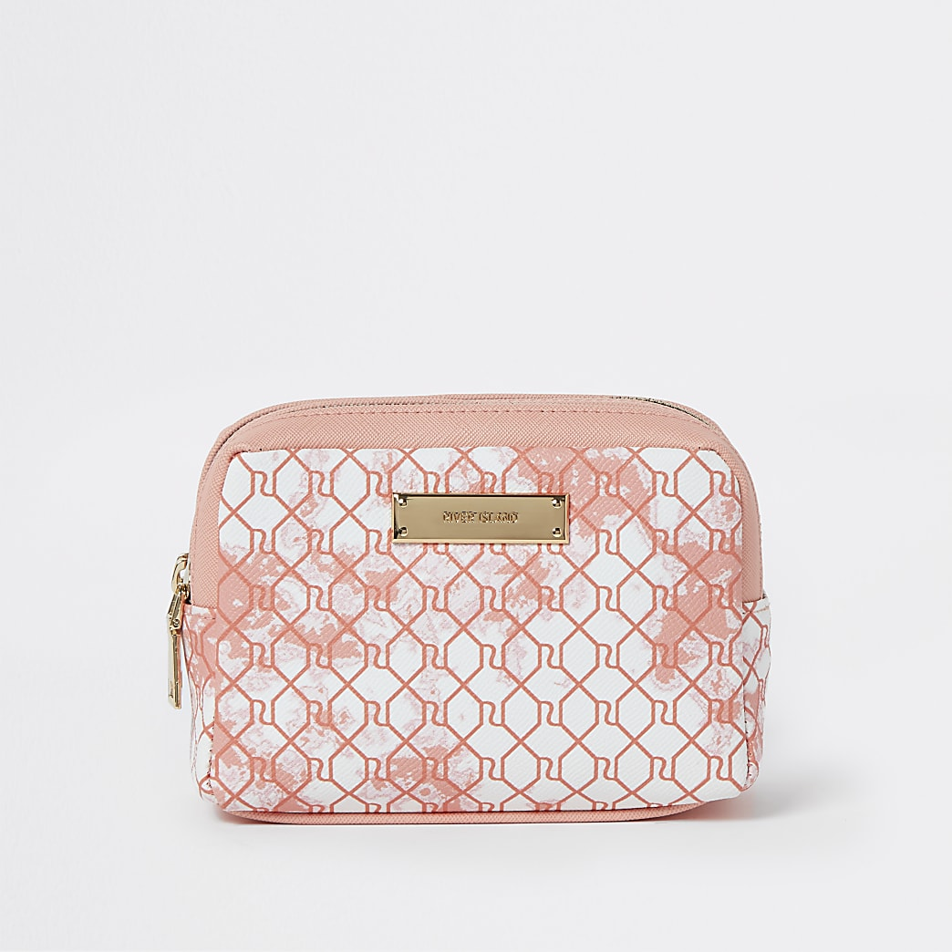 Pink tie dye RI monogram make up bag