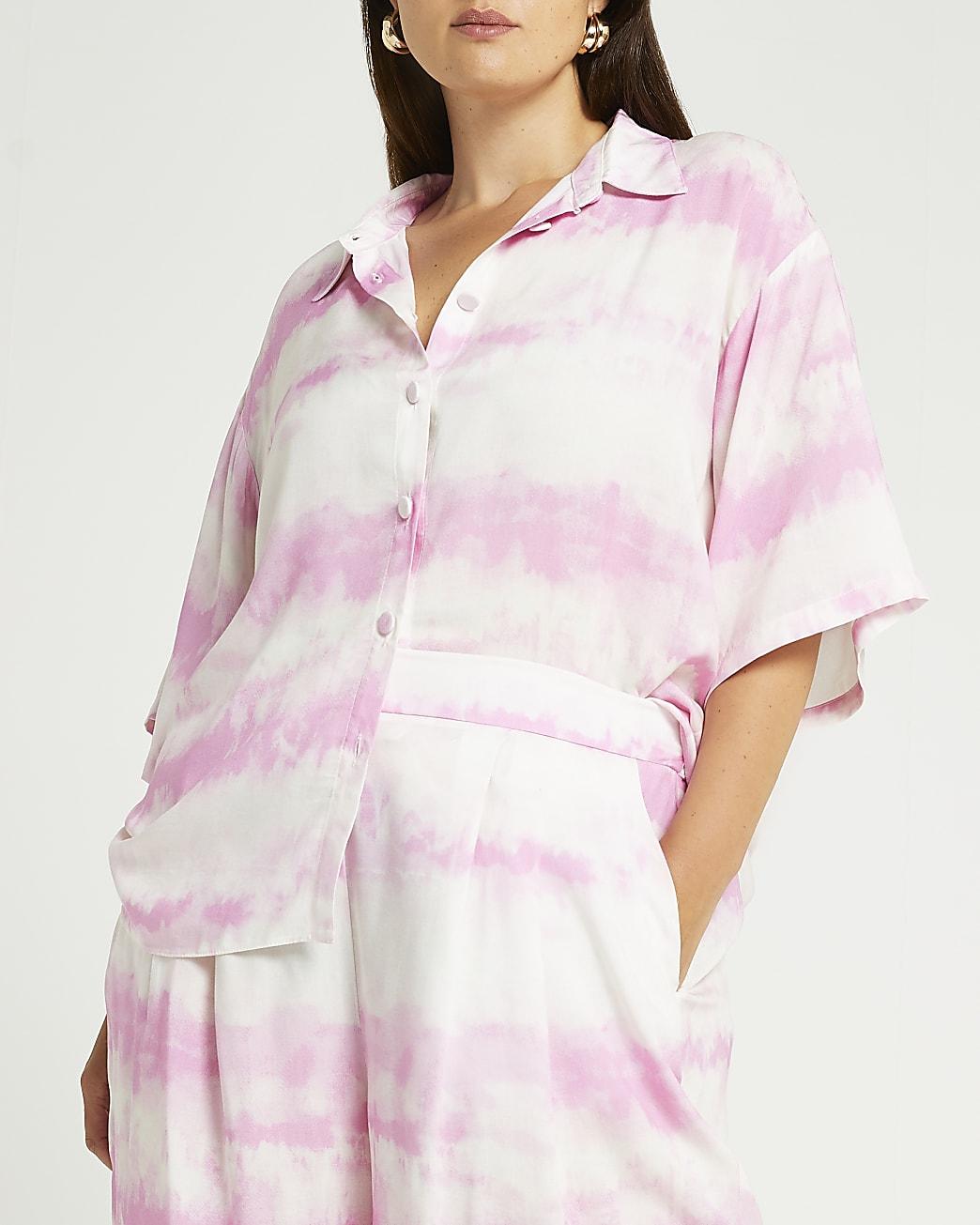 Pink tie dye short sleeve shirt
