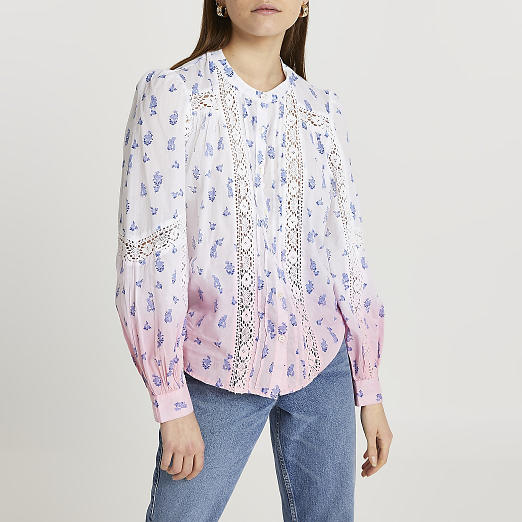 Pink tie dye trim long sleeve blouse top