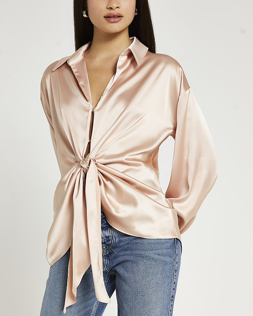 Pink tie front shirt