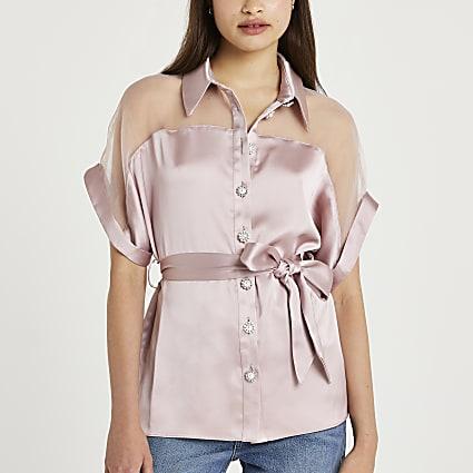 Pink tie waist embellished shirt