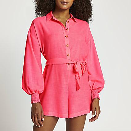 Pink tie waist long sleeve beach playsuit