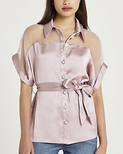 Pink tie waist short sleeve shirt