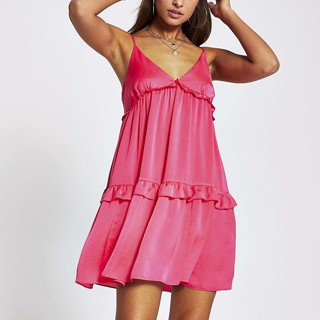 Pink tiered cami swing mini dress
