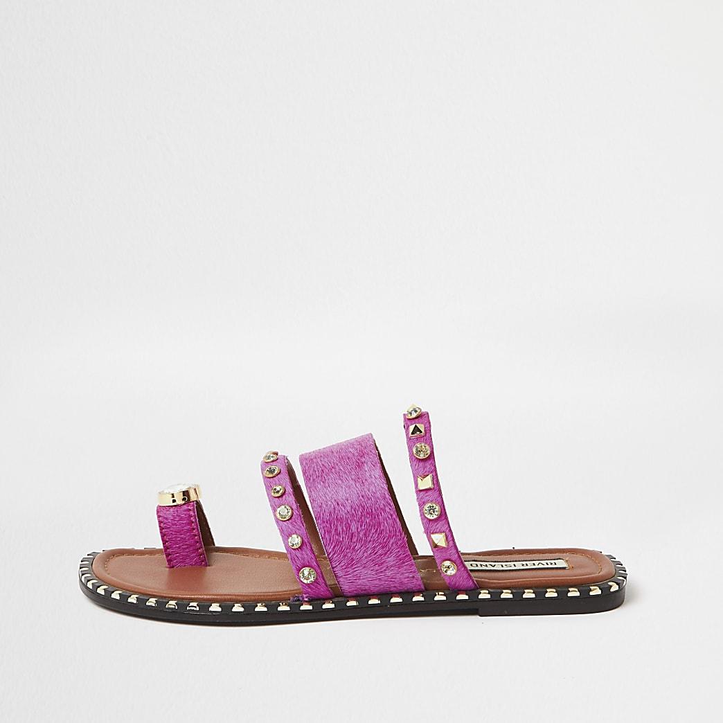 Pink toe loop gem sandal