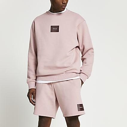 Pink Tokyo print sweatshirt and shorts set