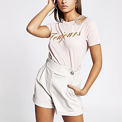 Pink 'Toujour' pearl cut out T-shirt
