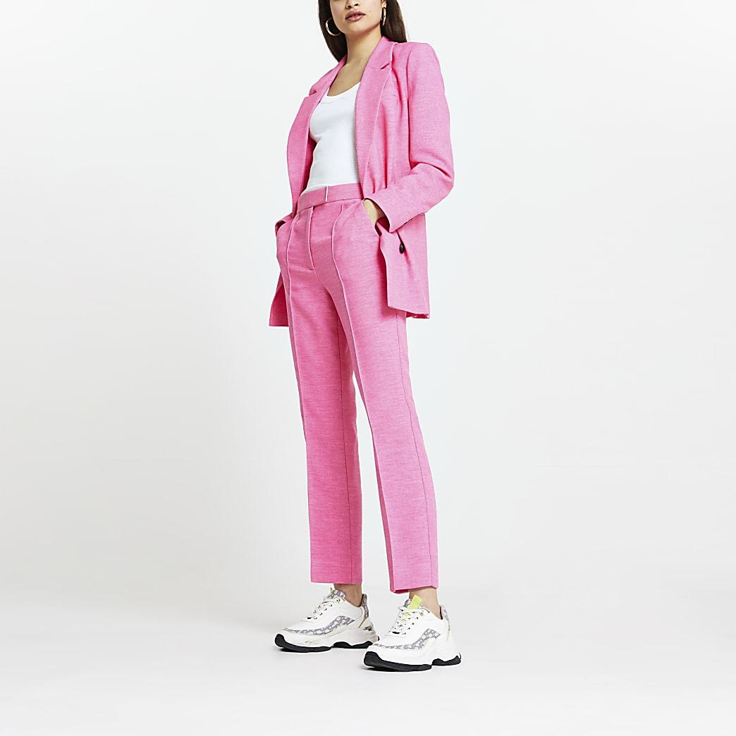 Pink trim detail cigarette trousers