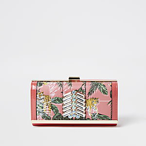 Pink Tropical Print Gem Cliptop