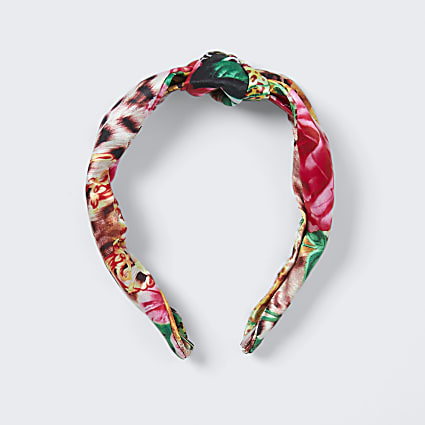 Pink tropical print headband