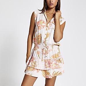 Mini-robe chemise de plage rose imprimé tropical
