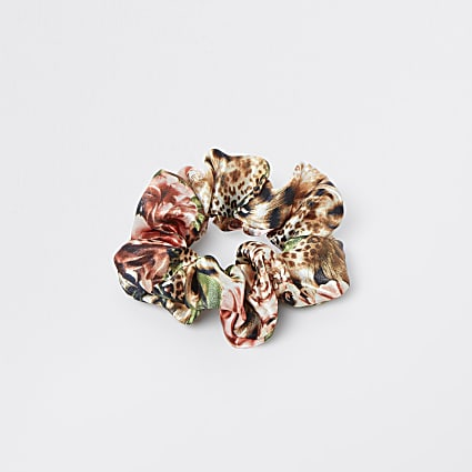 Pink tropical print scrunchie