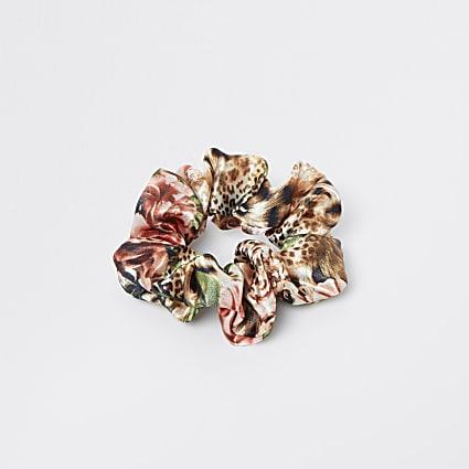 Pink tropical print scrunchie