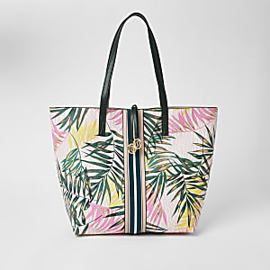 Pink tropical print shopper tote bag