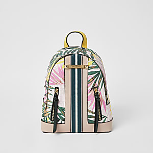 Pink tropical print zip front backpack
