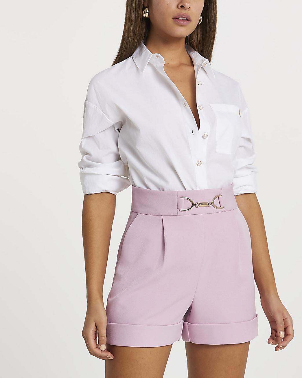 Pink turn up hem shorts