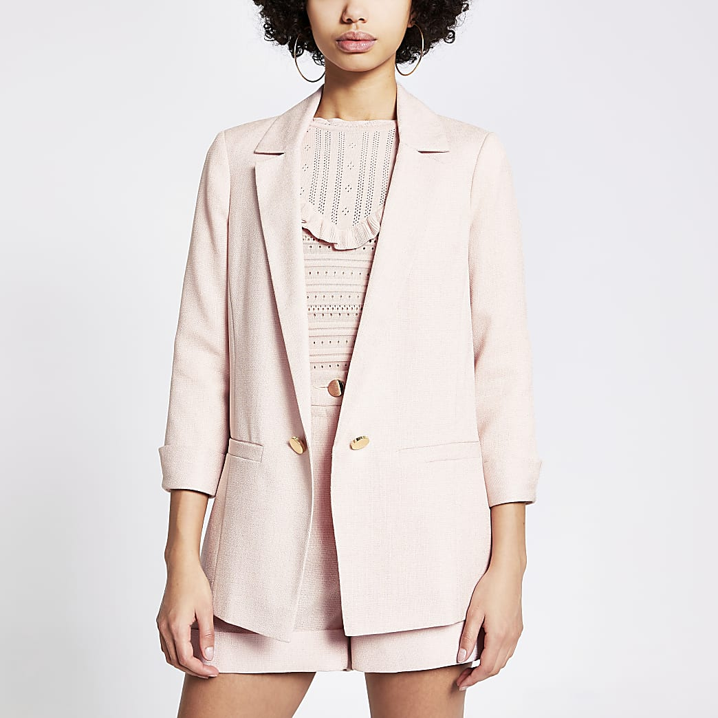 Pink turn-up sleeve blazer