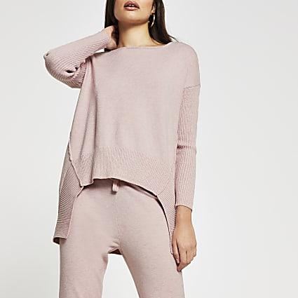 Pink turtle neck hem detail jumper