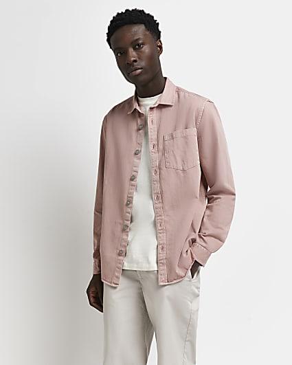 Pink twill regular fit long sleeve shirt