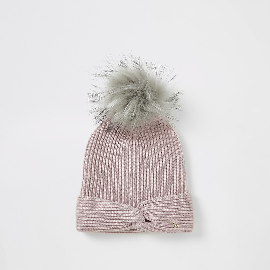 Pink twisted front knitted beanie hat