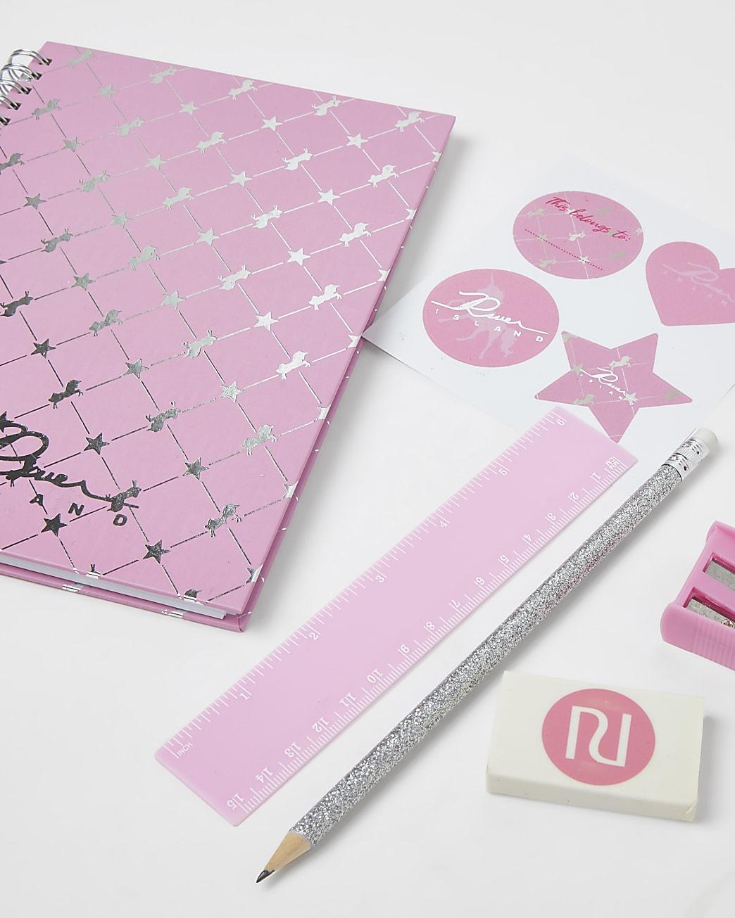 Pink unicorn stationery set