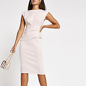 Pink v neck bodycon midi dress