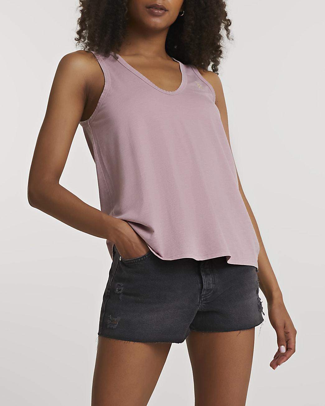 Pink v-neck tank top