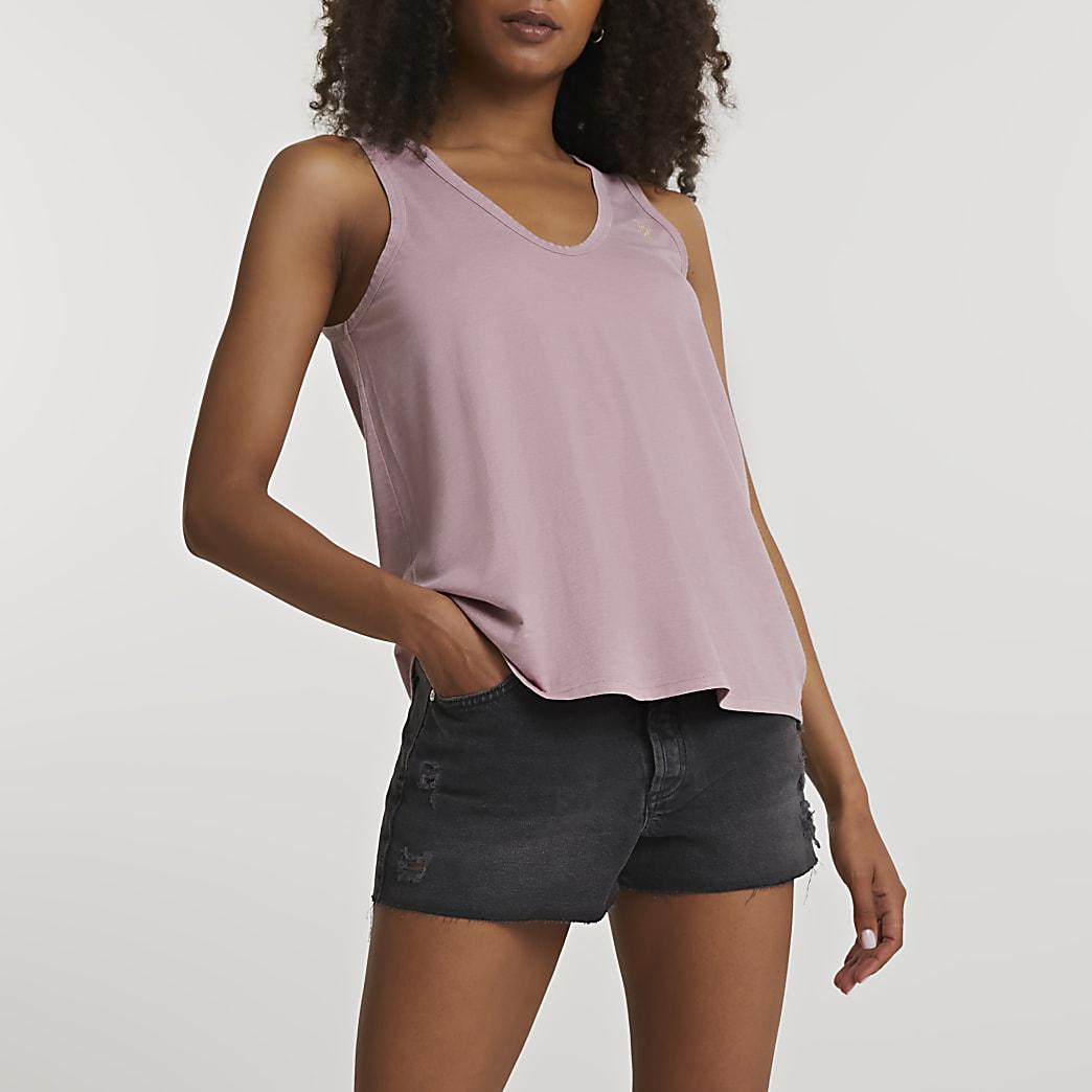 Pink v neck tank top