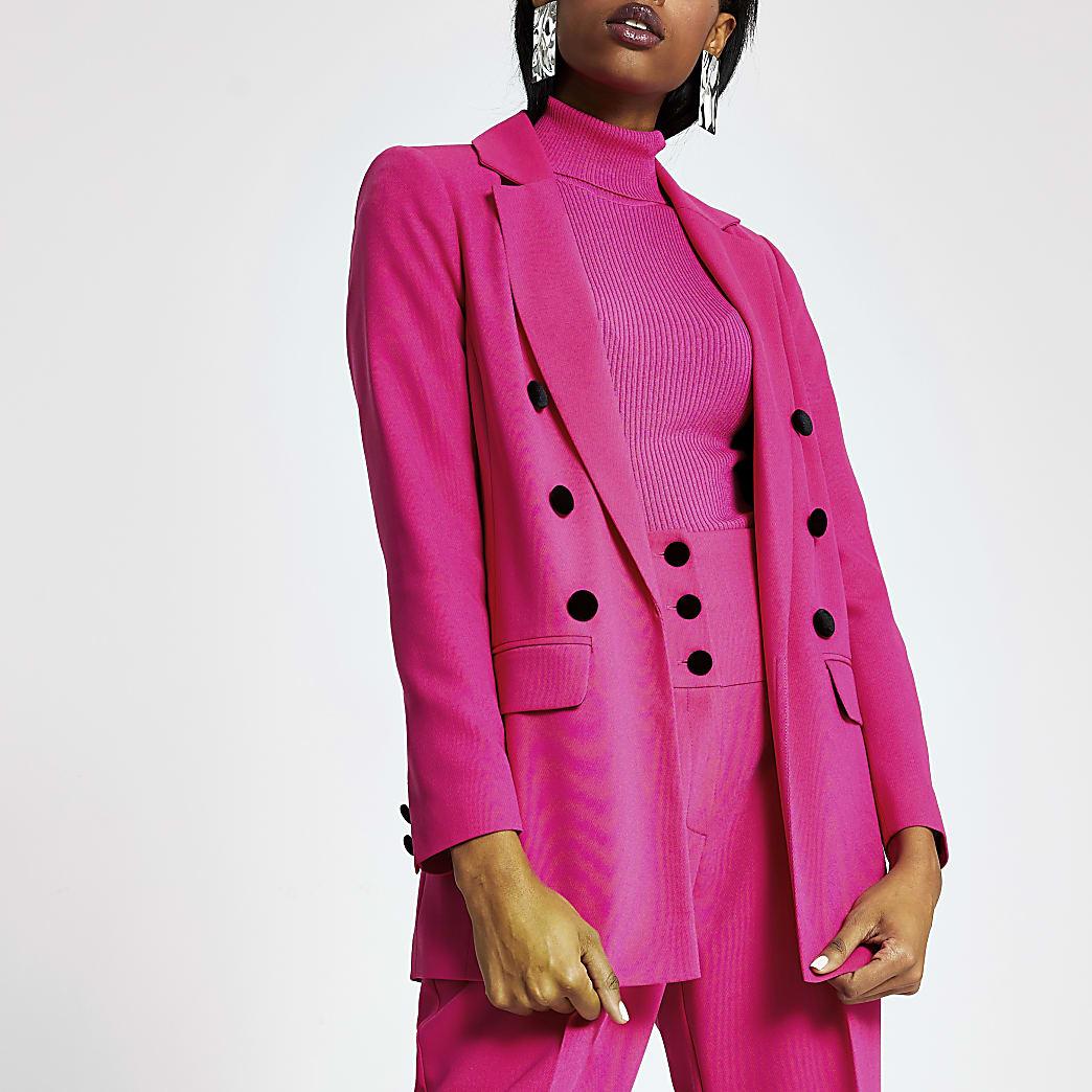 Pink velvet button blazer